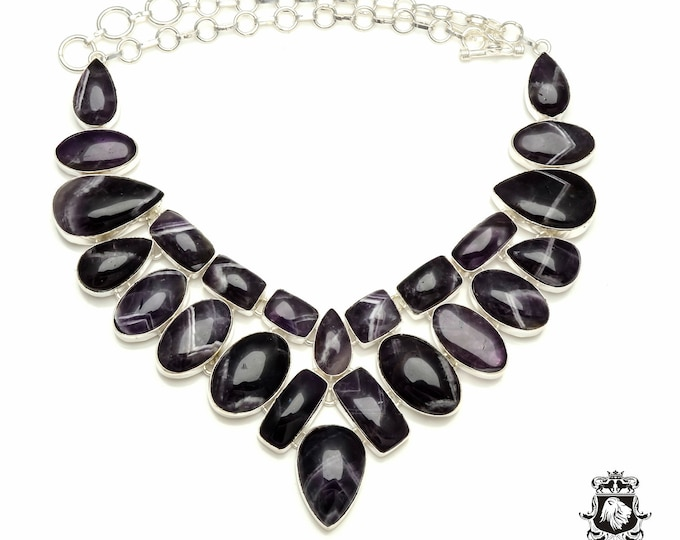 Blast of Purple! CHEVRON AMETHYST 925 Sterling Silver + Copper Bonded Necklace & Worldwide Express Tracked Shipping N6106