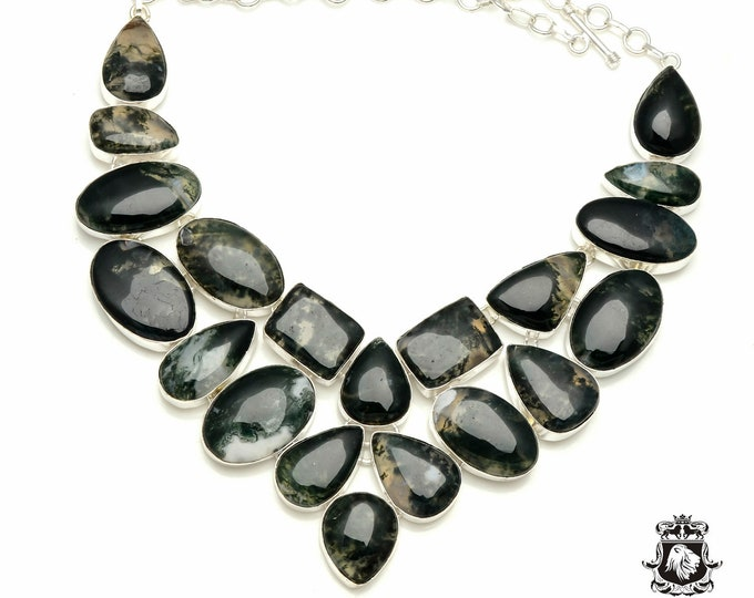 Australian MOSS AGATE (with Maximum Inclusions) 925 Sterling Silver + Copper Bonded Necklace & Worldwide Express Tracked Shipping N6113