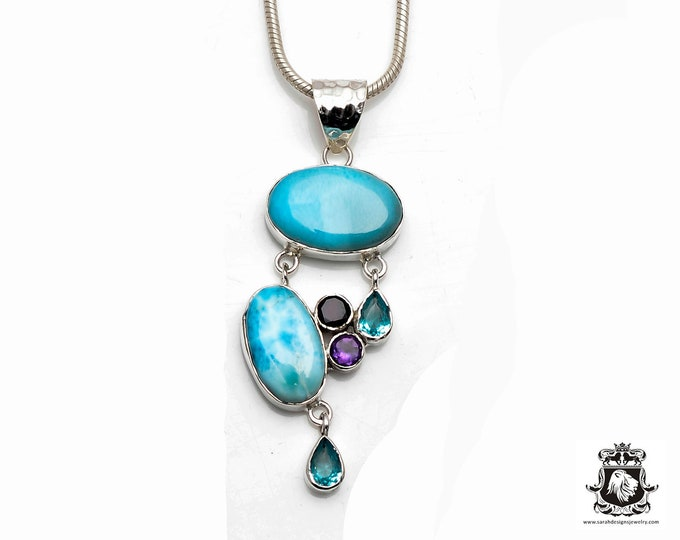 Quality Does Matter! True Blue Stunning Grade AAA Caribbean LARIMAR Fine 925+ 975 S0LID Sterling Silver Pendant + Snake Chain P6114