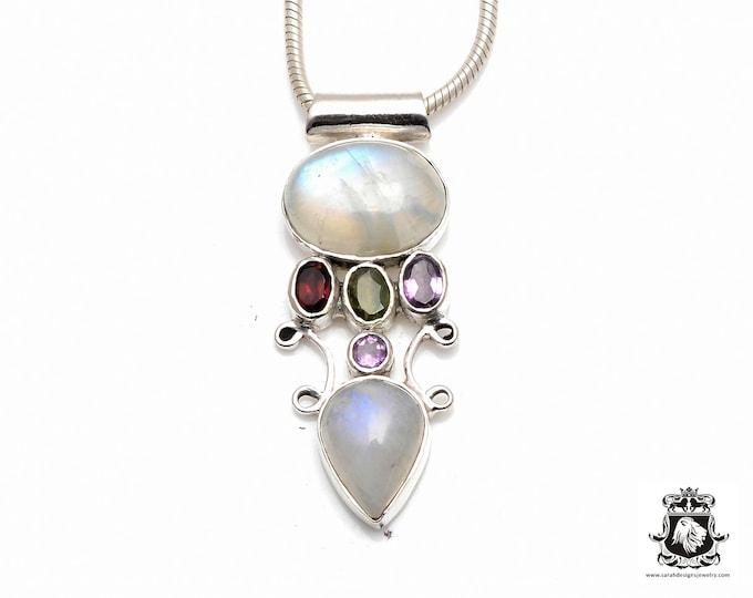 Twist Filigree Setting! RAINBOW MOONSTONE Garnet Peridot Amethyst Fine 925+ 975 S0LID Sterling Silver Pendant + Snake Chain P6135