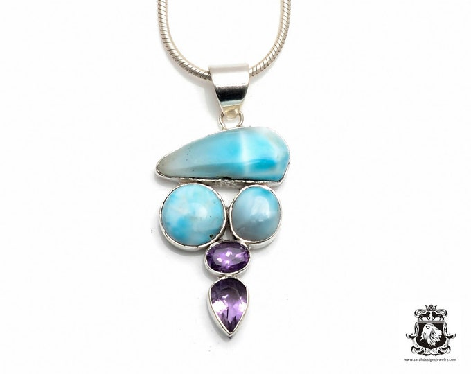 Triangular LARIMAR Mixed in with Round Shapes complemented by AMETHYST Fine 925+ 975 S0LID Sterling Silver Pendant + Snake Chain P6124