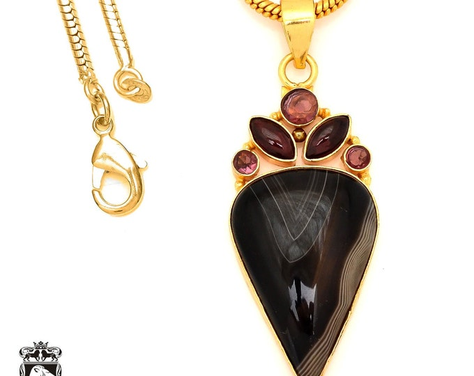 Banded Agate 24K Gold Plated Pendant 3MM Italian Snake Chain GP102