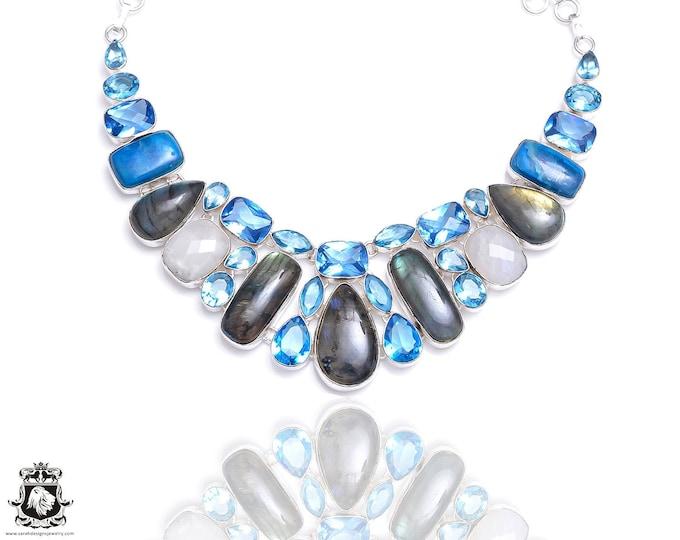 Labradorite Blue Topaz Necklace NK64
