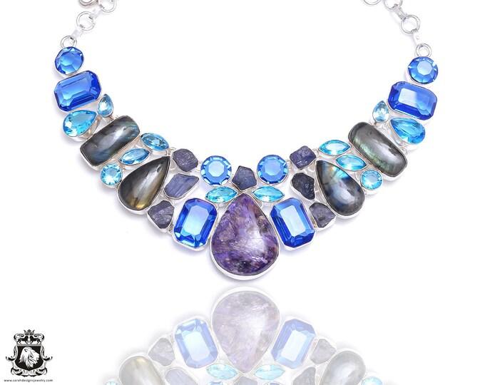 Charoite Tanzanite Irradiated London Blue Topaz Necklace NK70