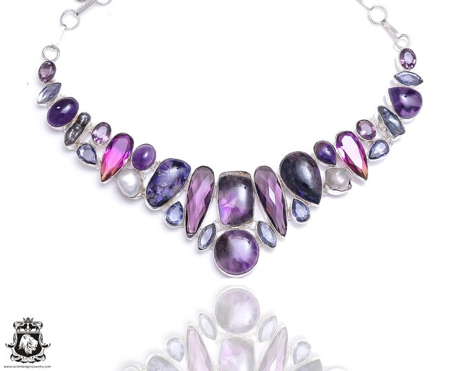 Amethyst Charoite Moonstone Necklace NK103