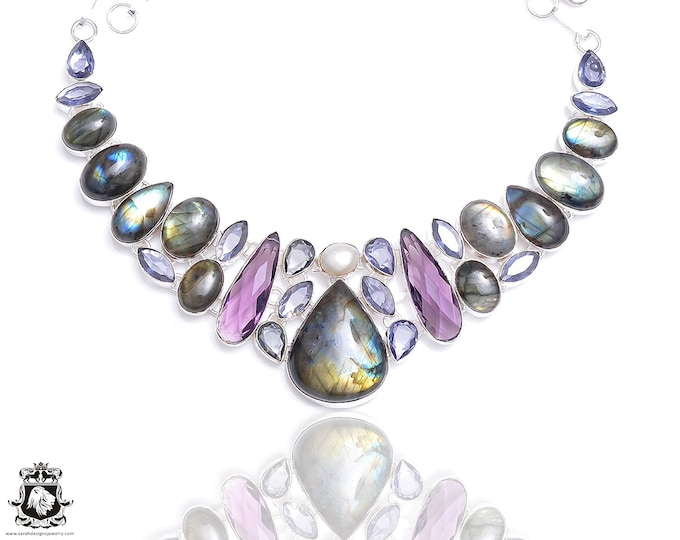 Labradorite Pearl Irradiated Amethyst Necklace NK74