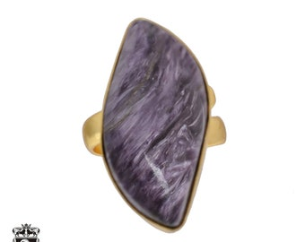 Size 6.5 - Size 8 Adjustable Charoite 24K Gold Plated Ring GPR482