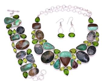 Boulder Turquoise Moss Agate Necklace Bracelet Earrings Set 882