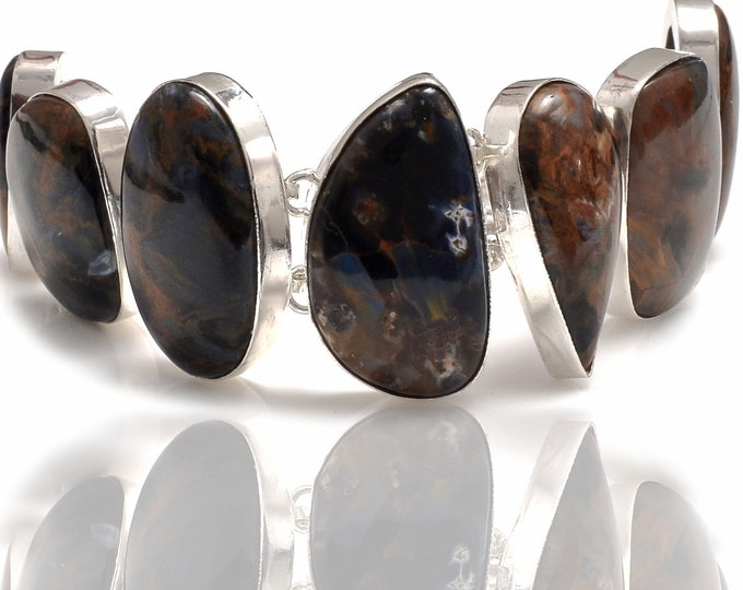 3D Holographic Namibian Pietersite Genuine Gemstone Bracelet B4272