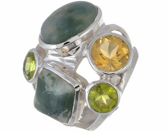 Moss Agate CITRINE Peridot Combination SIZE 8 (Nickel Free) 925 Fine S0LID Sterling Silver Ring R2696