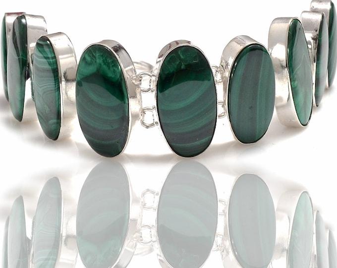 Oval Shaped Canadian Malachite Genuine Gemstone Bracelet B4285