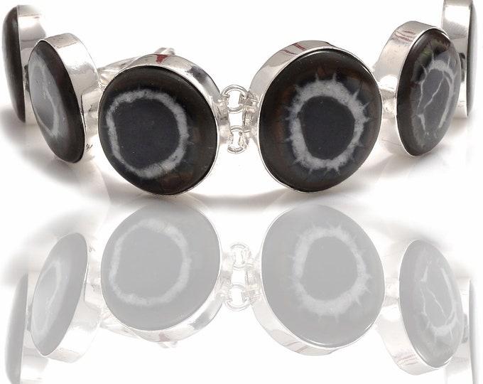 Circle Shaped Septarian Nodule Genuine Gemstone Bracelet b4278