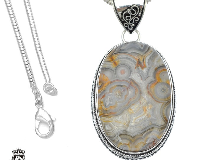 Crazy Lace Agate Pendant 4MM Italian Snake Chain V755