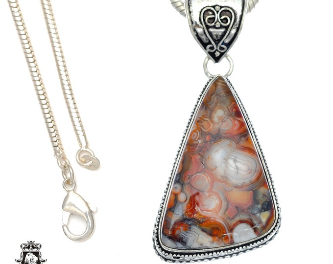 Crazy Lace Agate Pendant 4MM Italian Snake Chain V750