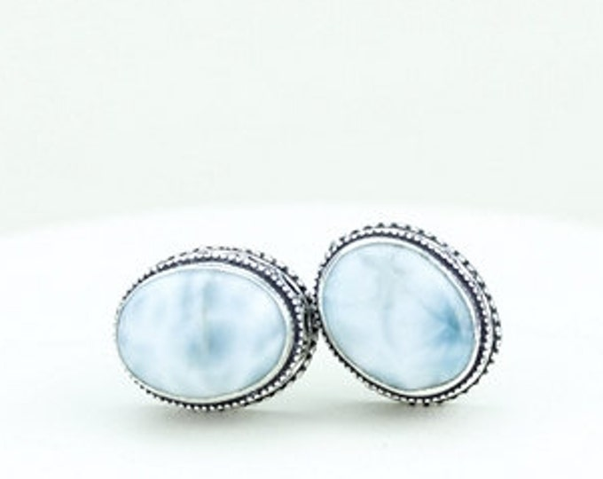 Oval Shpaed Larimar Vintage Filigree Antique 925 Fine S0LID Sterling Silver Men's / Unisex CUFFLINKS k264