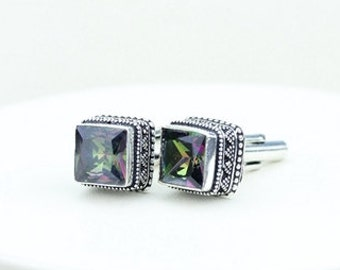 Square Shpaded Mystic Topaz Vintage Filigree Antique 925 Fine S0LID Sterling Silver Men's / Unisex CUFFLINKS k273