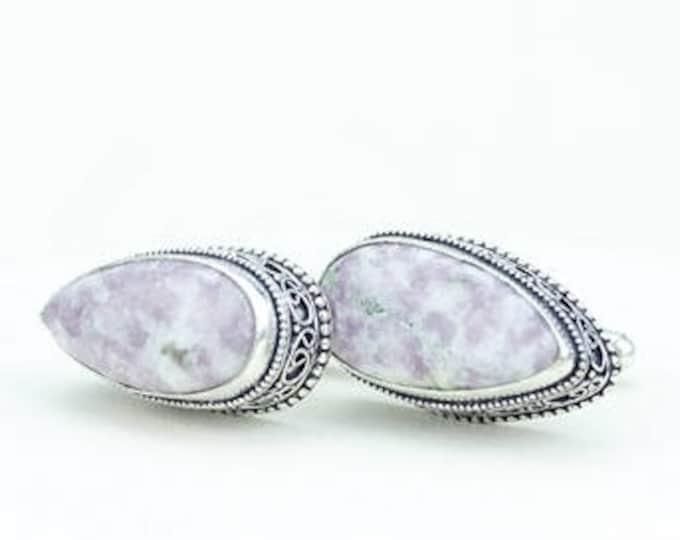 Healing Stone!!! All NATURAL Tear Drop Shaped CINNABAR Vintage Filigree Antique 925 Fine S0LID Sterling Silver Men's / Unisex CUFFLINKS k712