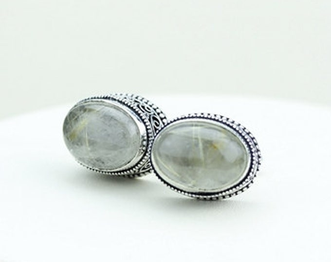 Genuine RUTILE Rutilated Quartz Vintage Filigree Antique 925 Fine S0LID Sterling Silver Men's / Unisex CUFFLINKS k226