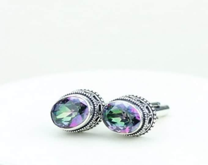 Oval Shaped Mystic Topaz Vintage Filigree Antique 925 Fine S0LID Sterling Silver Men's / Unisex CUFFLINKS k287