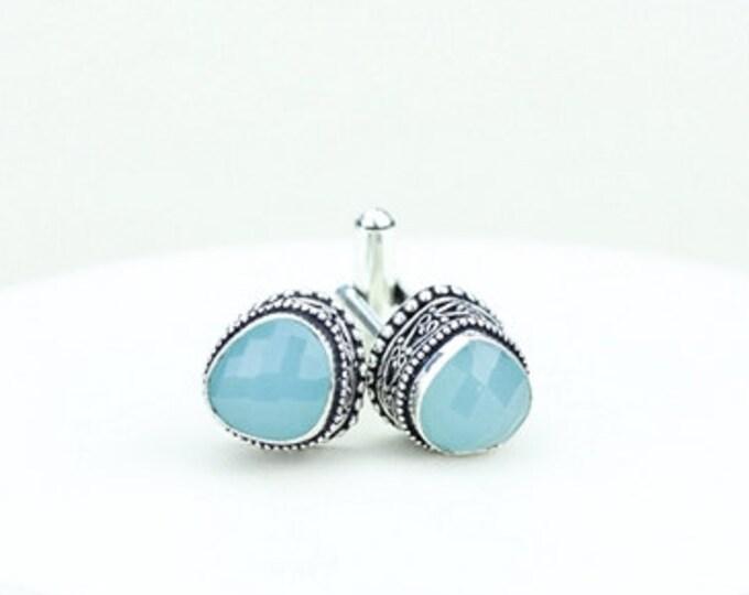 Blue Chalcedony Vintage Filigree Antique 925 Fine S0LID Sterling Silver Men's / Unisex CUFFLINKS k243