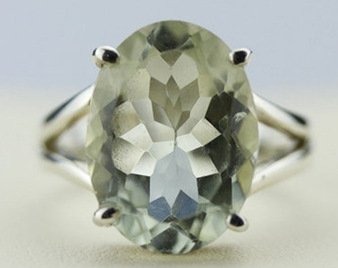 Size 6 GREEN AMETHYST PRASIOLITE (Nickel Free) 925 Fine Sterling Silver Ring  r77