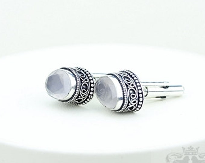 Madagascar Rose Quartz Vintage Filigree Antique 925 Fine S0LID Sterling Silver Men's / Unisex CUFFLINKS k228
