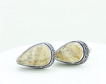 Jasper Vintage Filigree Antique 925 Fine S0LID Sterling Silver Men's / Unisex CUFFLINKS k263