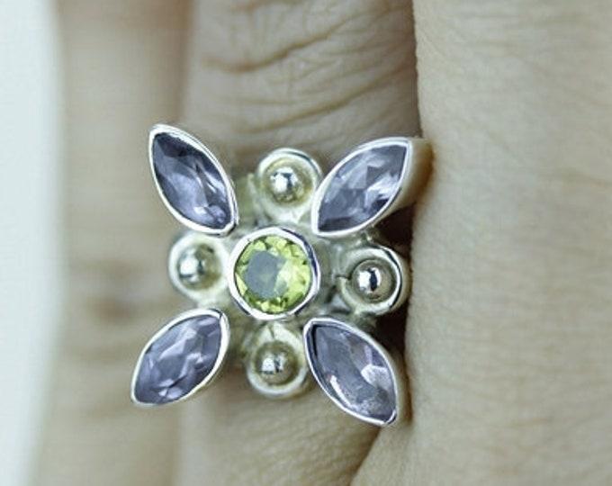 Size 4.5 IOLITE PERIDOT 925 Fine Sterling Silver Ring  r1465