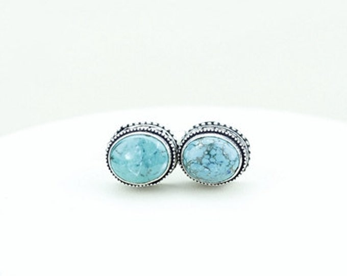 Genuine Tibetan Turquoise Vintage Filigree Antique 925 Fine S0LID Sterling Silver Men's / Unisex CUFFLINKS k218