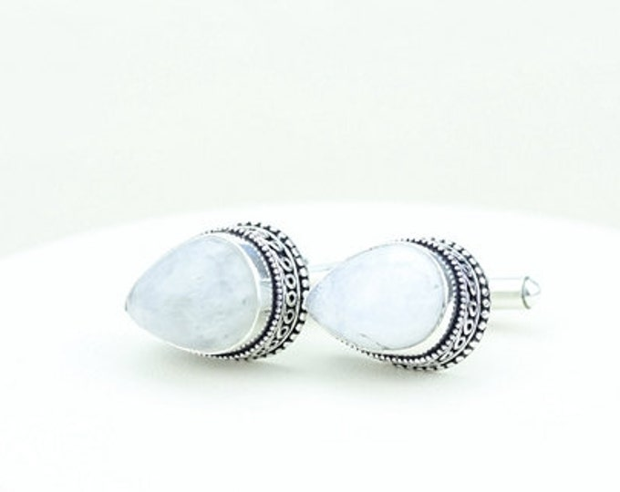 Moonstone Vintage Filigree Antique 925 Fine S0LID Sterling Silver Men's / Unisex CUFFLINKS k222