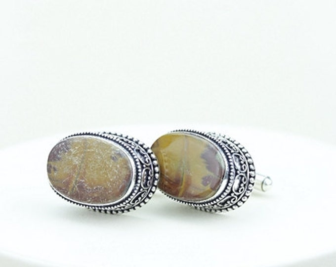 Oval Cut Australian Noreena Jasper Vintage Filigree Antique 925 Fine S0LID Sterling Silver Men's / Unisex CUFFLINKS k245
