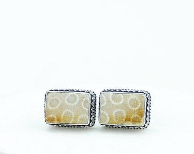 Rectangle Shaped Fossilized Bali Coral Vintage Filigree Antique 925 Fine S0LID Sterling Silver Men's / Unisex CUFFLINKS k722