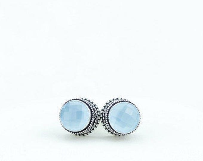 Blue Chalcedony Vintage Filigree Antique 925 Fine S0LID Sterling Silver Men's / Unisex CUFFLINKS k582