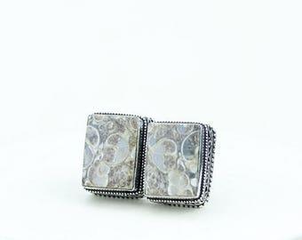 Rectangle Shaped TURRITELLA Fossil Vintage Filigree Antique 925 Fine S0LID Sterling Silver Men's / Unisex CUFFLINKS k752