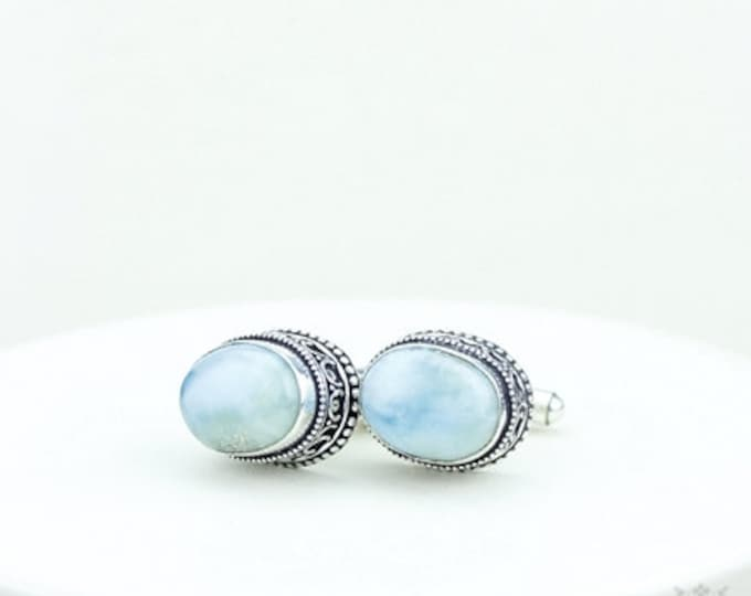 Larimar Vintage Filigree Antique 925 Fine S0LID Sterling Silver Men's / Unisex CUFFLINKS k344