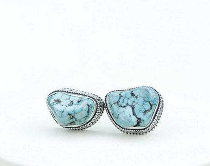 Tibetan Turquoise NUGGET Vintage Filigree Antique 925 Fine S0LID Sterling Silver Men's / Unisex CUFFLINKS k596