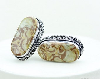 Mexican Bird's Eye Jasper Vintage Filigree Antique 925 Fine S0LID Sterling Silver Men's / Unisex CUFFLINKS k256