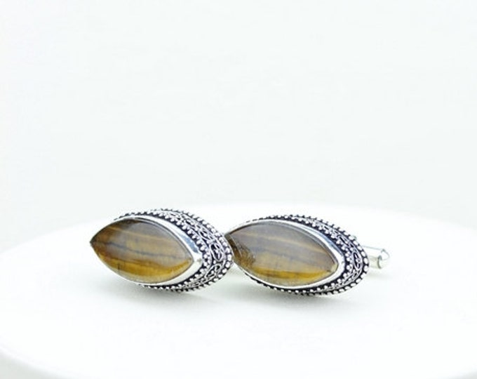 Tiger's Eye Vintage Filigree Antique 925 Fine S0LID Sterling Silver Men's / Unisex CUFFLINKS k308