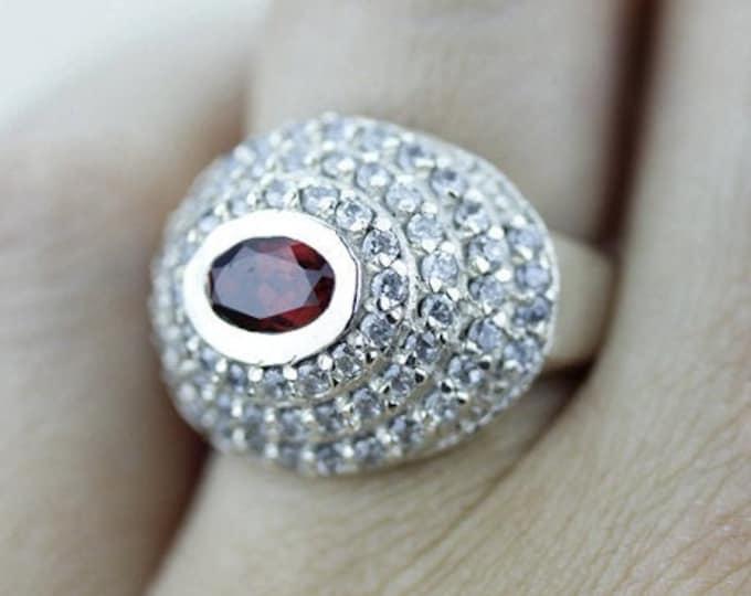 Size 5 RUBELLITE TOURMALINE White Topaz 925 Fine Sterling Silver Ring  r410