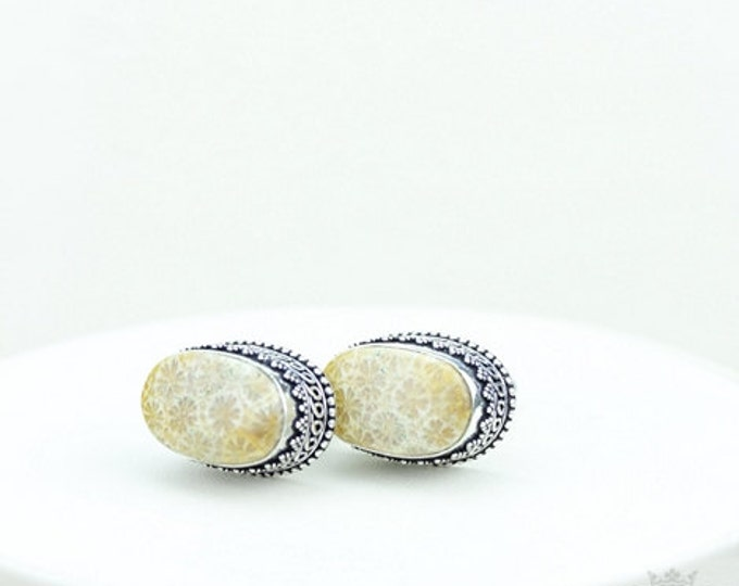 Fossil Coral Vintage Filigree Antique 925 Fine S0LID Sterling Silver Men's / Unisex CUFFLINKS k338