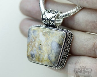 Mexican Crazy Lace Agate Vintage Filigree Setting 925 S0LID Sterling Silver Pendant + 4mm Snake Chain & FREE Shipping p3372