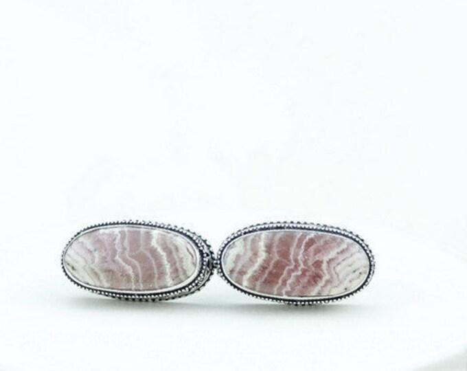 UNTREATED Argentina Oval Cut RHODOCHROSITE Vintage Filigree Antique 925 Fine S0LID Sterling Silver Men's / Unisex CUFFLINKS k672