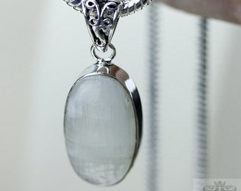 2.1 Inch Rainbow MOONSTONE 925 S0LID Sterling Silver Pendant + 4MM Snake Chain p3099