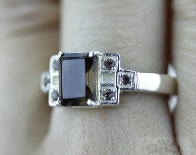 Size 7.6 TABLE Cut SMOKEY TOPAZ 925 Fine Sterling Silver Ring  r559