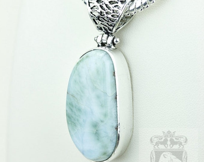 Large Filigree Bail! Genuine Caribbean LARIMAR 925 S0LID Sterling Silver Pendant + 4MM Snake Chain  P3600