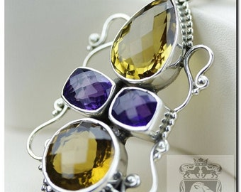 Classy Creation! Champagne tone CITRINE combined Japanese Amethyst Italian Made 925 SOLID Sterling Silver Pendant & 4mm Snake Chain P467