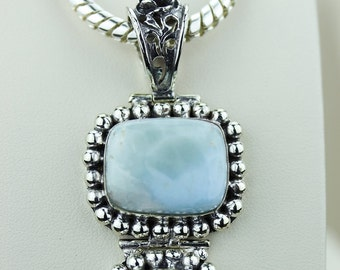 3.5 Inch ANTIQUE Setting CARIBBEAN LARIMAR 925 Solid Silver Pendant & 4mm Snake Chain p2123