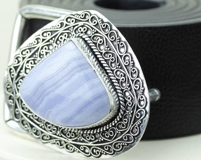 Namibian Blue Lace Agate Vintage Filigree Antique 925 Fine S0LID Sterling Silver + Copper BELT Buckle T139