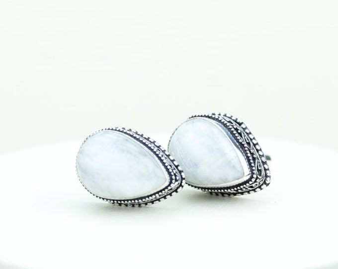 Moonstone Vintage Filigree Antique 925 Fine S0LID Sterling Silver Men's / Unisex CUFFLINKS k381