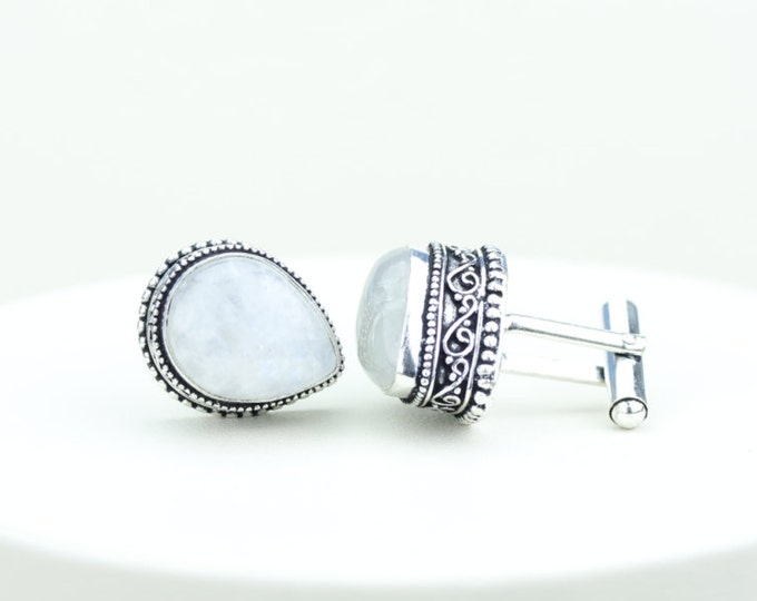 Moonstone Vintage Filigree Antique 925 Fine S0LID Sterling Silver Men's / Unisex CUFFLINKS k392